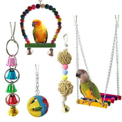 5pcs Parrot Bird Hanging Swing Bed Cage Rope Pet Chew Bite Bell Parakeet Budgie