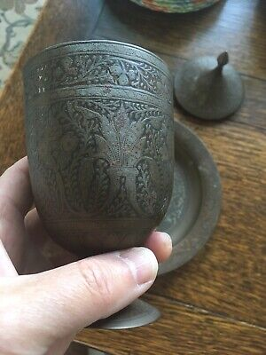 Old Heavy Antique Bronze/Brass Chalice Goblet Lid & Dish with Pattern and Colour
