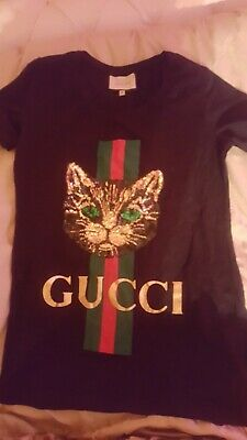 40f09b0fc539 GUCCI MYSTIC CAT Embroided T-shirt - $260.00 | PicClick