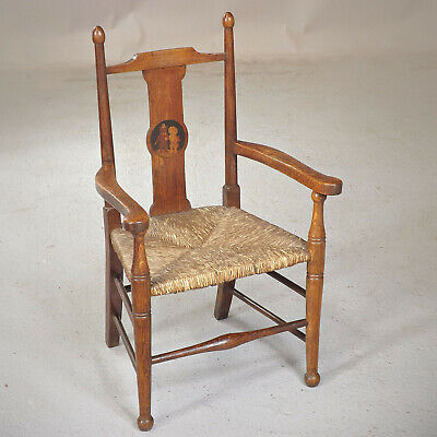 Antique Liberty Child's Chair - Nursery Rhyme - Oak & Rush (delivery £40)