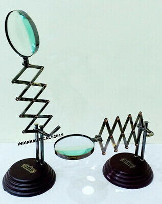 Nautical Brass Chainne Magnifying Glass on Wooden Base Adjustable Desk Magnifier