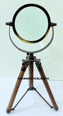 Nautical Magnifying Glass on Wooden Stand Adjustable Desk Magnifier
