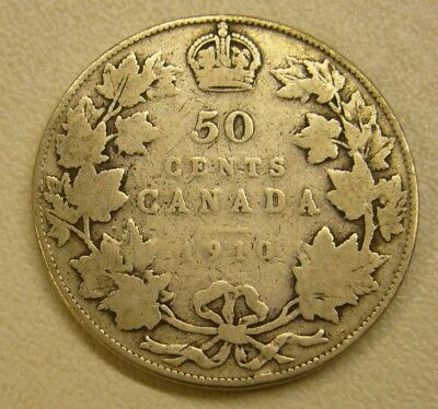 1910 Canada 50 Fifty Cents Half Dollar Circulated Coin