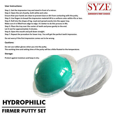 Dental Putty Base Green + Catalyst White Silicone Impression Material Sets SYZE
