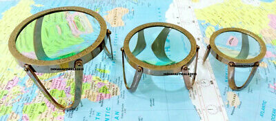 Antique Set of 3 Magnifying Glass Desk Magnifier Map Read Collectible Gift