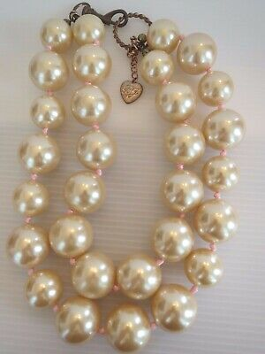 NIKI COLLECTION Betsey Johnson Vintage HUGE Pearl Double Strand Necklace RARE!!!