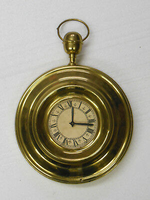 "old Brass 8 Day Wall Clock w Pocketwatch Design 9 1/2"" dia - FOR PARTS or REPAIR"