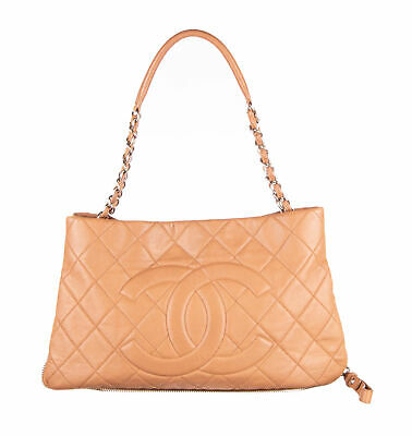 c35fbfa1aaca84 CHANEL TAN CAVIAR Leather Quilted Timeless CC Expandable Tote Bag ...