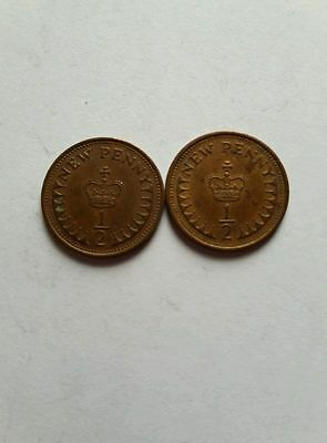 Two half pence coins 1975