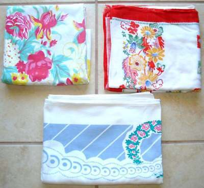 Lot of 3 Assorted Vintage 1950s-60s Cotton Dinner Tablecloths with some  TLC