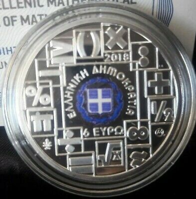 Best price 🅰️ COLOR SILVER proof🅰️ GREECE 6 Euro 2018 🅰️100 YEARS MATHEMATICS