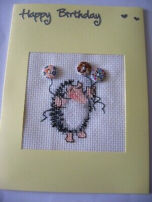 Birthday Card Completed Cross Stitch Hedgehog & Balloons (with buttons) 8x6""