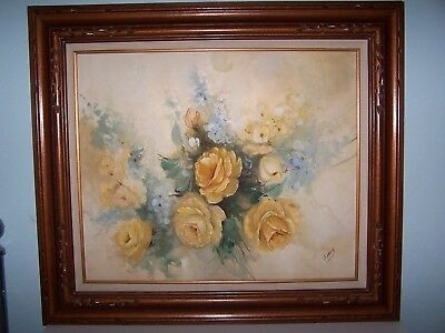 Vintage Original Oil Painting YELLOW FLOWERS On Canvas Framed and Signed By Hudy