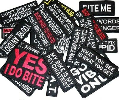 Words slogans Iron On Biker Patches Motorcycle  Iron/sew on badge 50 designs