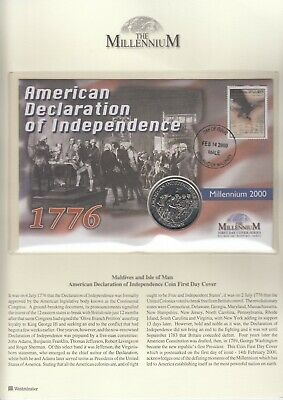 ISLE OF MAN 1998 Crown American independence  Coin Stamp Cover FDC