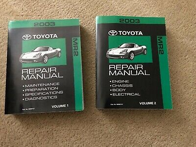 2003 toyota mr2 spyder zzw30 bgb shop workshop manual set w/ electric manual