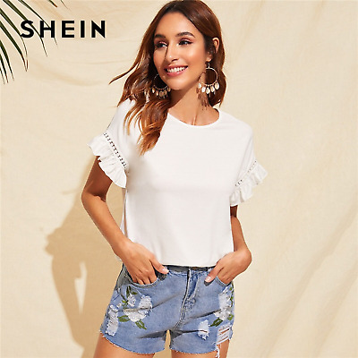 a40a20cd86 SHEIN Ruffle Trim Guipure Lace Detail White Summer Casual Ladies Stretchy  Tops