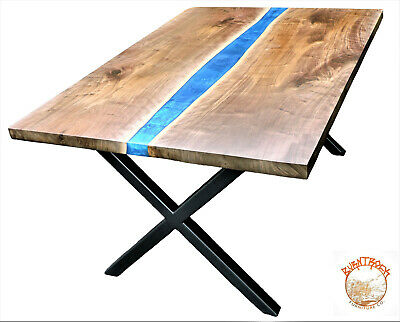 Walnut, Epoxy River Dining Table, Live Edge-From BurntRock. Custom for you!
