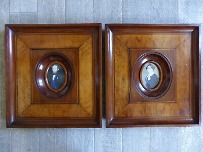 """VERY LARGE PAIR of ANTIQUE 19th C. PORTRAITS MINIATURES 13 1/2 """" x 12 3/5 """""""