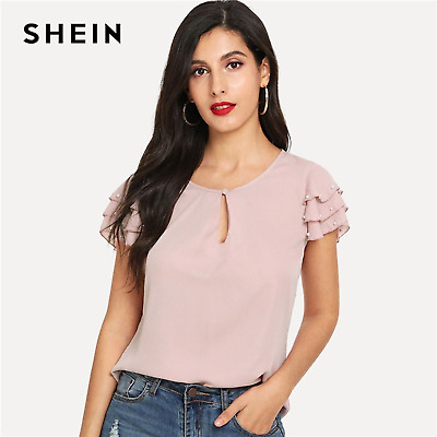 78169b28 SHEIN Elegant Office Lady Pink Pearls Beaded Layered Sleeve Summer Casual  Tops