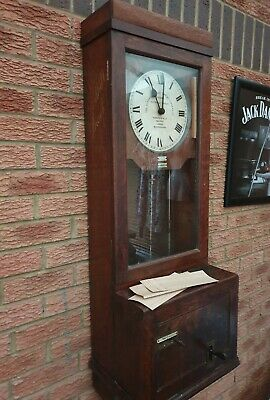 ANTIQUE FACTORY GLEDHILL BROOK CLOCKING IN MACHINE OAK PEAKY BLINDERS 1930s