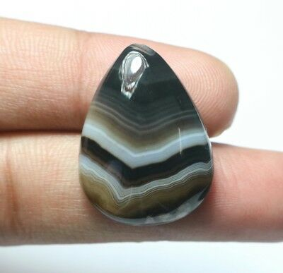 34 Cts Natural Banded Agate Amazing Colour Pear Shape Big Size Gemstone Cabochon