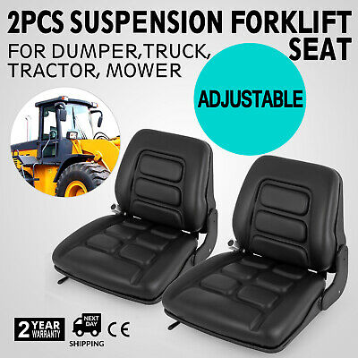 Heavy Duty 2pcs Forklift Suspension Seat Universal w/ Folding Adjustable Chair
