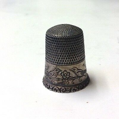 Antique Sterling Silver Thimble Simons Bros. Ornate Bird