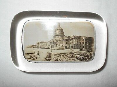 Old Vintage Pyro Art Co Glass Paperweight The Capitol White House Washington DC