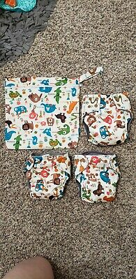 *NEW* Happy Flute CUSTOM Cloth Diapers AIO Heavy Wetter Lot Of 3 BONUS wetbag