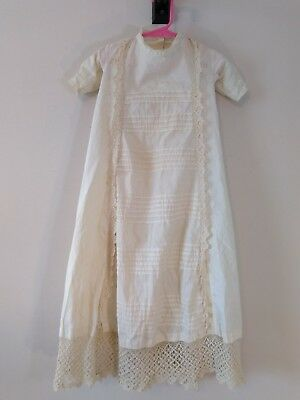Edwardian Victorian Pintuck Crocheted Lace Baby Christening Gown Dress Antique