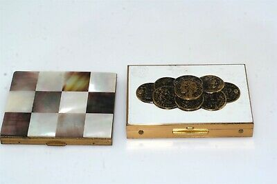 2pc Vintage Mother of Pearl Coin Purse Compact