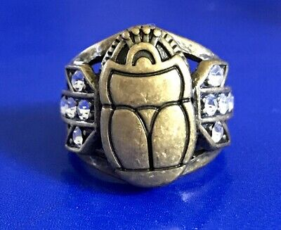 Lulu Frost Egyptian Scarab Antique Gold Plate Ring With Crystals Sz 6 Rare!!