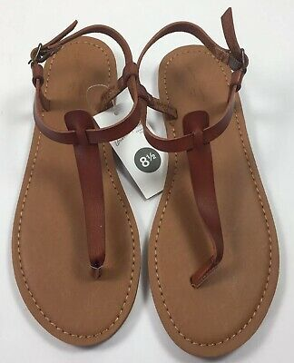 a9eb1e519 Womens Hartley T-Strap Thong Sandals Brown Universal Thread Size 8.5 New