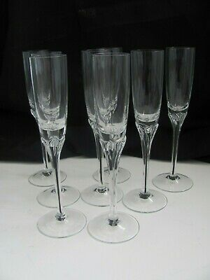 Lot of 8 Vintage Belfor Exquisite pattern Crystal Tall Stem Cordial  Glasses