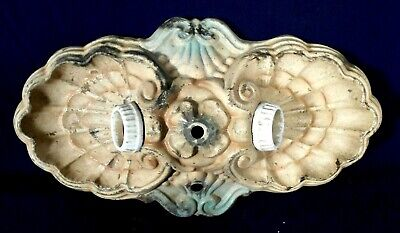 Antique Victorian Art Deco Sheet Brass Double Ceiling Light