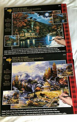 2 Plaid 16X20 Paint By Number Mountain Hideaway Lakeside Cabin