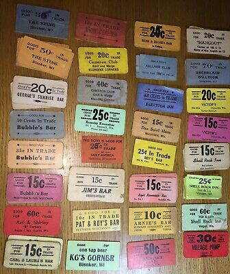 Vintage 89 Wisconsin Rapids Cardboard Good For Trade Tickets Bar Tavern