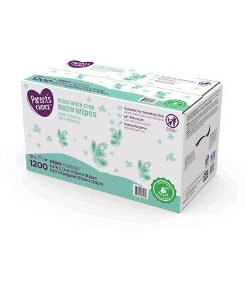 Parent's Choice Fragrance Free Baby Wipes, 12 packs of 100 (1200 count )