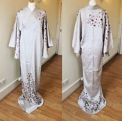 KIMONO Authentic Japanese Vintage, Arabesque Embroidery Gray
