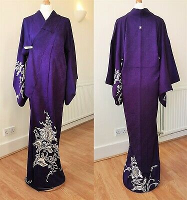 KIMONO Authentic Japanese Vintage,  Arabesque Embroidered Family Crest Violet