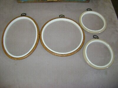 FOUR Embroidery Cross Stitch Frames Hoops ROUND OVAL Plastic Hanging