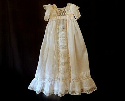 Heirloom French Vintage Christening Gown in Finest Lawn with Lace SOME DAMAGE