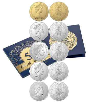 2019 Australian Unc Set 50th Anniversary  Dodecagon 50 Cent Gold Coin Folder Set