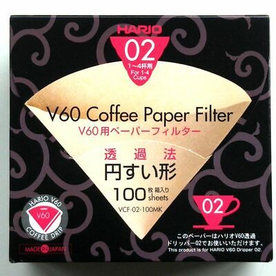 HARIO V60 02 Coffee Paper Filte Lots 100 Sheets Natural Unbleached Japan F/S