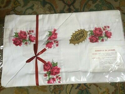 Vintage French Pure White Cotton Sheet Red Roses Edge - Double Bed  2m80 x 2m20