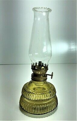 Honey Amber Miniature Kerosene Finger Oil Lamp With Chimney | Post-Depression