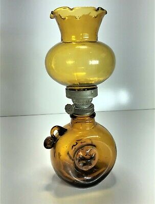 Amber Glass Miniature Kerosene Finger Oil Lamp With Chimney | Post-Depression