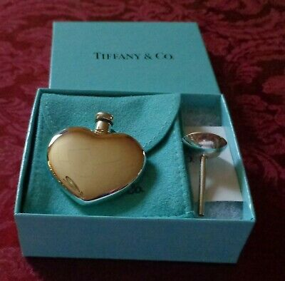 Tiffany & Co. Sterling Silver Heart Shaped Perfume Bottle With Funnel