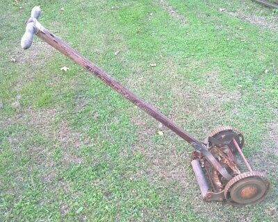 Antique Vintage Crowe Engineering Hand Push Lawn Mower - Old Rustic Garden Decor
